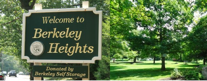 "Picture of Berkeley Heights sign and park, the sign reads ""Welcome to Berkeley Heights"""